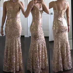 Dresses & Skirts - Tan gold sequin lace formal prom mermaid dress